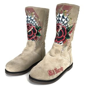 Ed Hardy Suede Boots Sz 5 Rose Graphic Lined Cream